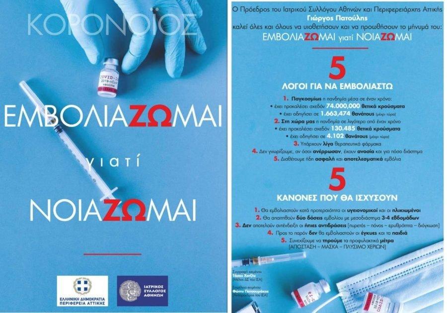 Ενημέρωση για τον εμβολιασμό από τον Ιατρικό Σύλλογο Αθηνών